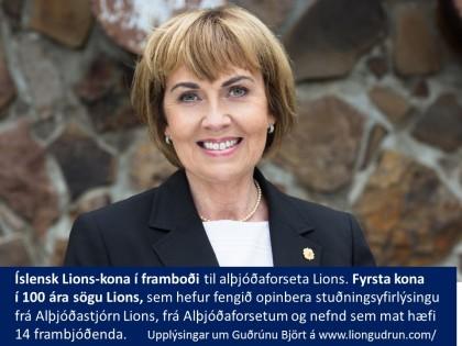 Íslensk Lions-kona í framboði til alþjóðaforseta Lions.